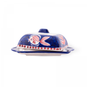 Handmade pottery butter dish with lid | Ceramica Assunta Positano