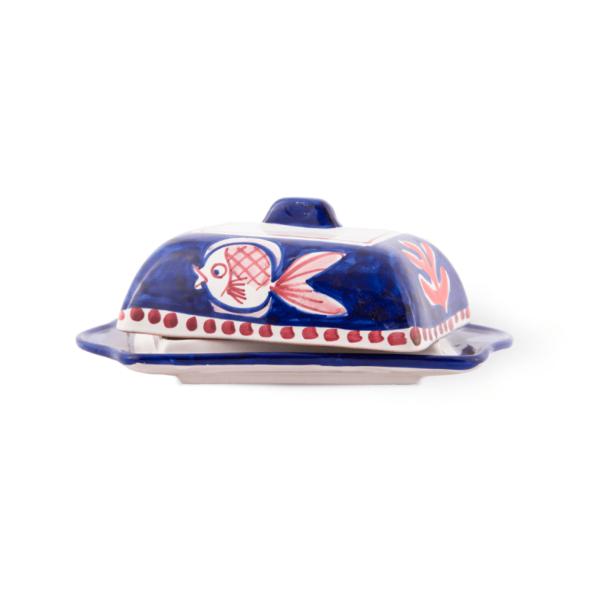 Handmade pottery butter dish with lid  Ceramica Assunta Positano