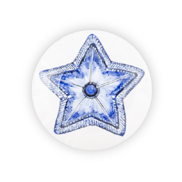 Piatto decorazione stella marina dipinto a mano