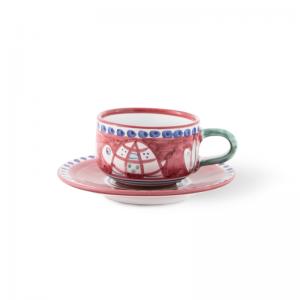 Handmade pottery tea mug with saucer| Ceramica Assunta Positano
