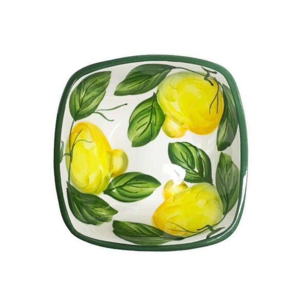 Ciotola Quadrata Limoni 14x14 cm | Ceramica Assunta