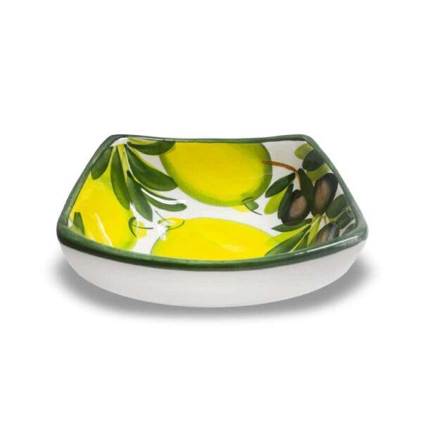 Ciotola Quadrata Limoni e Olive 14x14 cm
