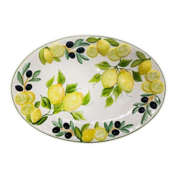 Piatto Ovale Limoni e Olive 40x28 cm