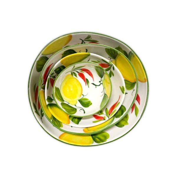 Set 4 Ciotole Giada Limoni e Peperoncini