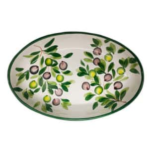 Ovale Fondo Olive 38 cm | Ceramica Assunta Positano