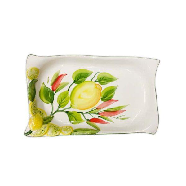 Vassoio Decoro Limoni e Peperoncini 25x16 cm