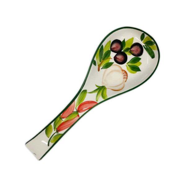 Poggiamestolo Decoro Olive e Peperoncini
