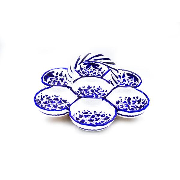 Antipastiera con manico arabesco blu