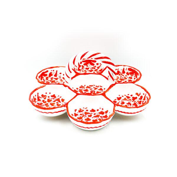 Antipastiera con manico arabesco rosso