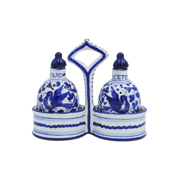 Set olio e aceto con cestino arabesco blu