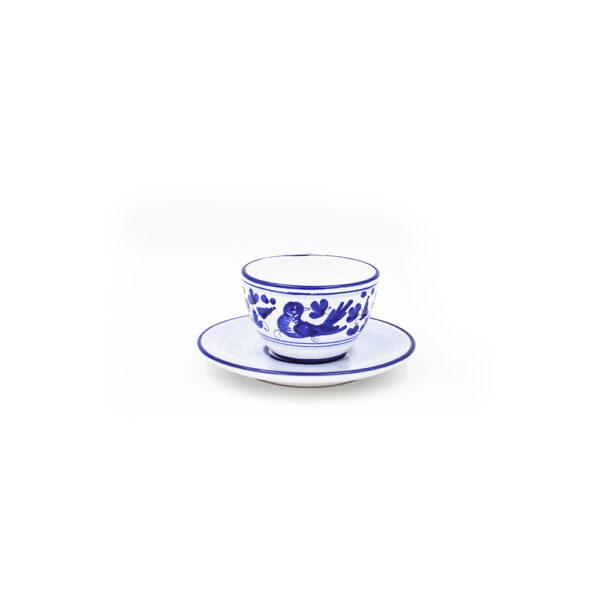 Tazza tè con piattino chiaro arabesco blu