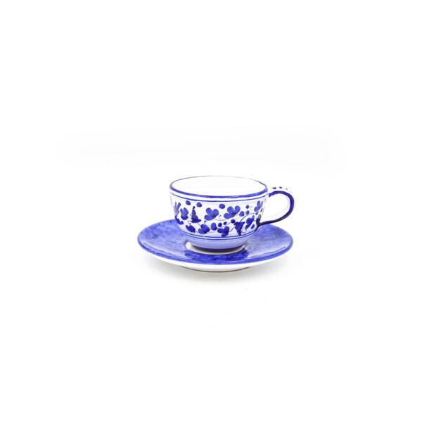 Tazza tè con piattino scuro arabesco blu