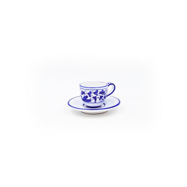 Tazzina caffè con piattino chiaro arabesco blu