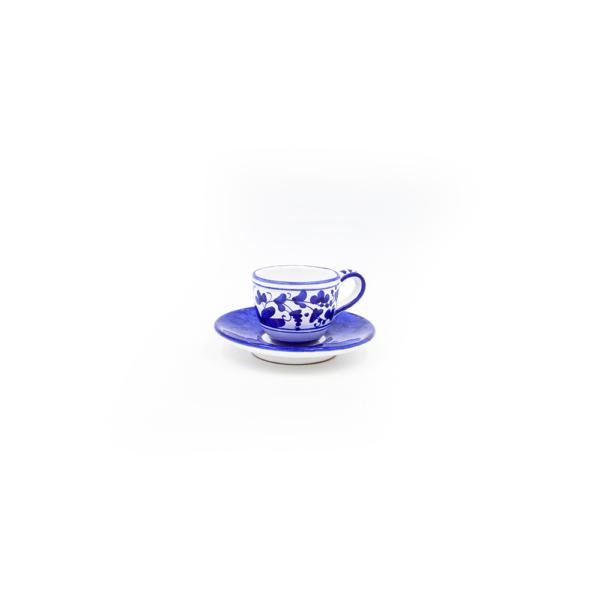 Tazzina caffè con piattino scuro arabesco blu