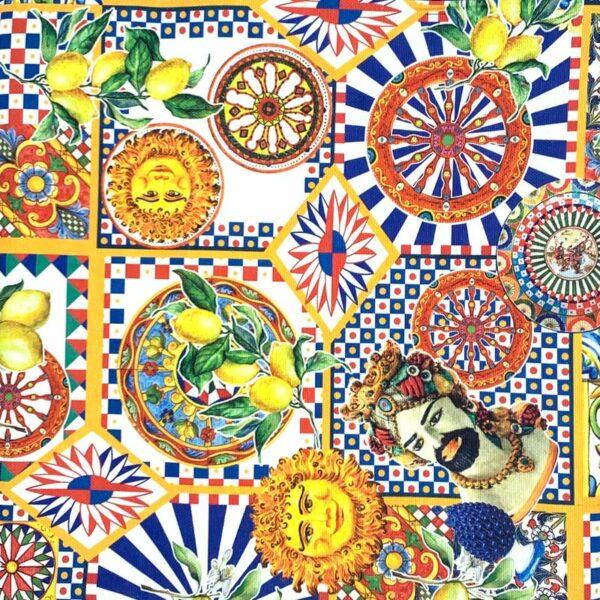 Tovaglia in cotone decoro Sicilia