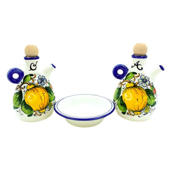 Set olio e aceto limone blu